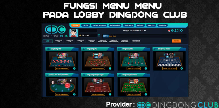 Fungsi Menu - Menu pada Lobby Dingdong Club